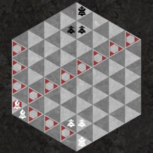 Light Bishop moves along three light triangular diagonal axes