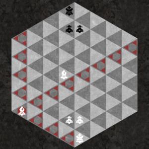 Dark Bishop moves along dark triangular diagonal axes