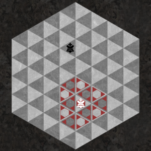 King moves one space along six triangular axes