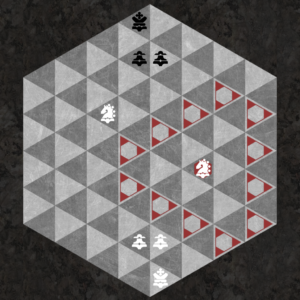 Knight moves to triangular ring of 12 spaces of opposite color
