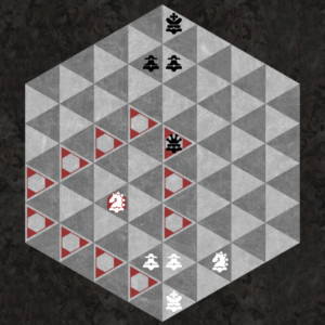 Knight threatens triangular ring of 12 spaces of opposite color