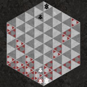 Queen moves along six triangular axes